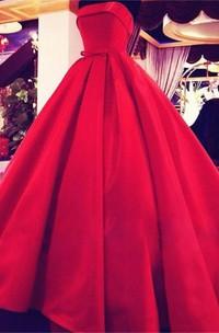 Elegant Strapless Ball Gown Evening Dress 2018 Bowknot Sleeveless