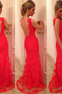 Trumpet Mermaid V-neck Applique Sleeveless Lace Backless Floor-length Dress