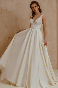 Modern Satin Lace V-neck A Line Short Sleeve Wedding Dress with Pleats and Low-V Back