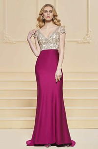 Sexy Plunging Illusion Sheath Satin Two Tune Gown With Beading
