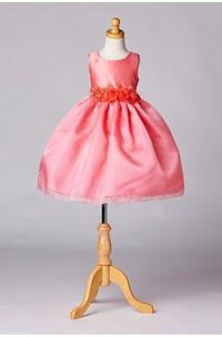 Sleeveless Jewel Neck Pleated Organza Layered Skirt With Satin Sash and Bow