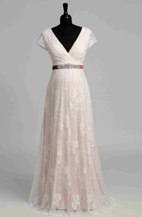 Short Sleeve V-neck Pleated Long Lace Maternity Wedding Dress