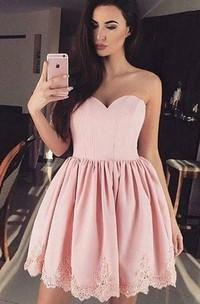 A-line Ball Gown Sweetheart Sleeveless Pleats Ruching Short Mini Lace Homecoming Dress