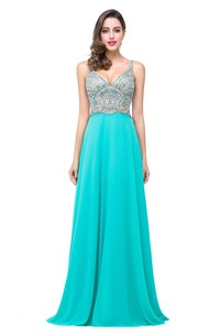 Newest Crystals Spaghetti Strap 2018 Prom Dress Open Back A-line