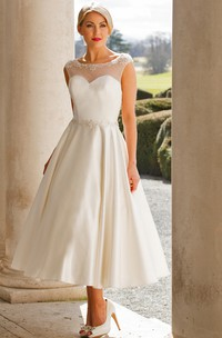 Tea-Length A-Line Cap Sleeve Bateau Neck Appliqued Satin Wedding Dress