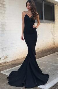 Spaghetti Strap V Neck Mermaid Long Satin Gown