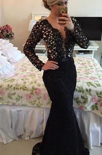 Newest V-neck Black Lace Mermaid Prom Dress 2018 Long Sleeve