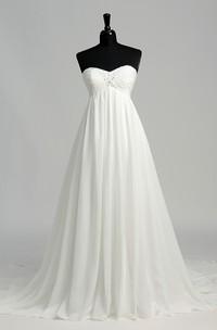 Floor-length Court Train A-line Sweetheart Sleeveless Zipper Chiffon Weeding Dress
