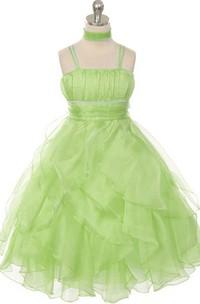 Sleeveless A-line Ruffled Dress With Spaghetti Straps