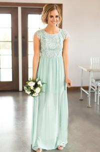 Sexy Bateau Cap-sleeve Keyhole Bridesmaid Dress