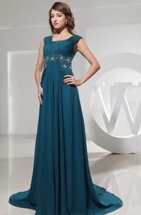 Sleeveless Chiffon Square-Neck Dress With Beaded Waist