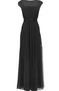 Cap-sleeved Chiffon Gown With Illusion Bodice and Bow