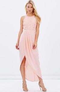 High-Low Lace Scoop Neck Sleeveless Chiffon Bridesmaid Dress