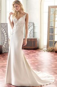 V-Neck Maxi Appliqued Chiffon Wedding Dress With Sweep Train And V Back