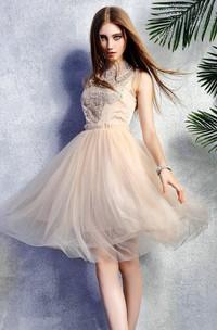 Sleeveless High Neck Lace New Arrival Stunning Dress