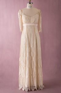 Simple-Designed Half-sleeved V-neck V-back Lace Dress