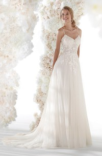 Tulle Open Back Ethereal Spaghetti Straps Bridal Gown With Lace Appliques And Ruching