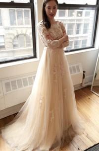 Light Creamy Champagne Long Sleeve Deep V Lace Wedding Dress