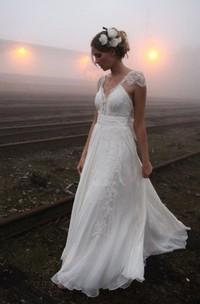 A-line Princess V-neck Floor-length Cap Sleeve Lace Chiffon Wedding Dresses