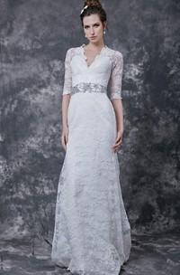 Stylish 3 4 Sleeve Long Lace Dress With Crystal Embellished Waist