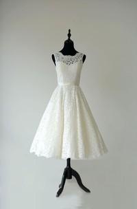 Sleeveless Sheer Neckline Tea Length Garden Bridal Dress With Waistband