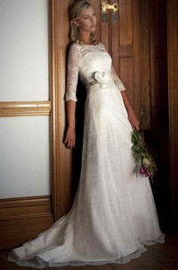 Sheath Half-Sleeve Bateau-Neck Lace Wedding Dress With Waist Jewellery
