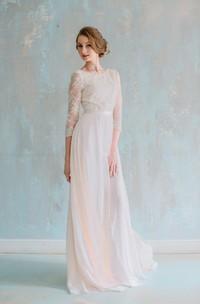 Jewel Neck 3 4 Sleeve Long Chiffon Dress With Lace Bodice and Sash