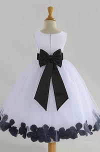Floral Chiffon and Tulle Scoop Sleeveless Ball Gown Flower Girl Dress