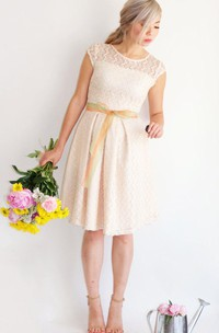Cap Sleeved Short Lace Dress With V back