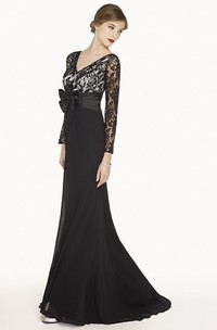 Scalloped V Neck Lace Long Prom Dress Long Prom Dress With Waist Bow