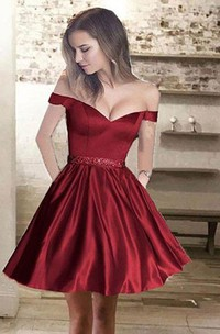 A-line Off-the-shoulder Sleeveless Beading Pockets Ruching Short Mini Satin Homecoming Dress