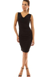 Sleeveless V-neck Knee-length Ruched Chiffon Dress