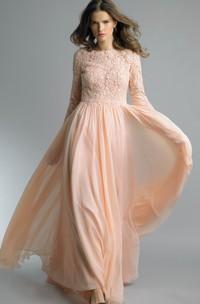 A-line Floor-length High Neck Long Sleeve Chiffon Zipper Dress