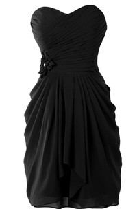 Sweetheart Short Ruched Chiffon Dress With Flower