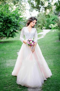A-Line Short V-Neck Long Sleeve Bell Cap Zipper Tulle Lace Dress