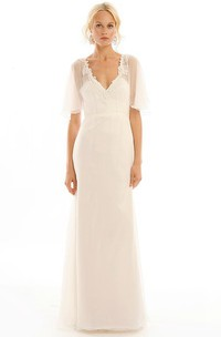 Long V-Neck Appliqued Poet-Sleeve Tulle Wedding Dress With Sweep Train And Illusion