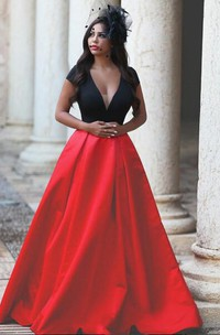 Sexy Balack and Red Short Sleeve Evening Dresses 2018 Taffeta A-Line Evening Party Gown