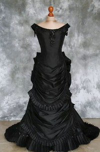 A-Line Bateau Taffeta Floor-length Sweep Train Short Sleeve Wedding Dress with Corset Back