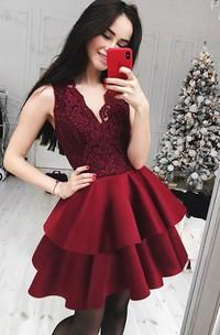 A-line V-neck Sleeveless Ruffles Tiers Short Mini Satin Lace Homecoming Dress