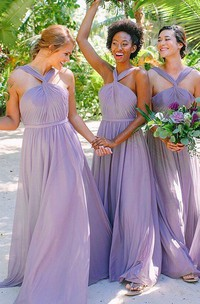 Adorable A Line Chiffon Halter Sleeveless Bridesmaid Dress with Pleats