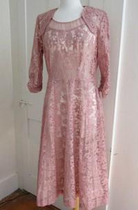 1940S Pink Lace Large Vintage Dusty Rose Cocktail Party Floral Lace 1950S Dress