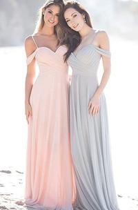 Elegant A Line Off-the-shoulder Chiffon Sleeveless Bridesmaid Dress
