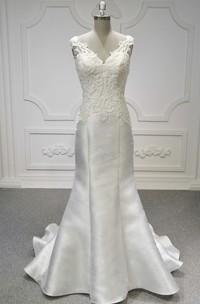 Sleeveless V-neck Illusion Back Lace Satin Mermaid Wedding Dress With Ruching