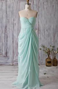 Backless Sweetheart Draped A-line Chiffon Long Dress With Bandage