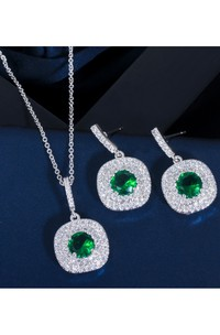 Elegant Square Shape Multiple Color Rhinestone Necklace and Earrings Jewelry Set