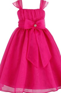 Cap-sleeved Square-neck Dress With Bow Tie