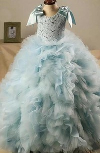 Tuffled Ball Gown Sash Bow Flower Girl Dress with Beading