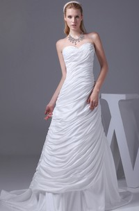 Sweetheart A-Line Dress with Sweep Train and Ruched Design