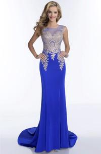 Bateau Neck Sleeveless Sheath Jersey Prom Dress With Illusion Back And Rhinestone Bodice