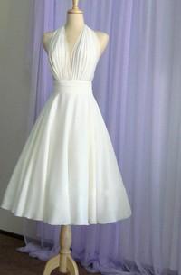 Vintage Tea-Length Chiffon Wedding Dress With Halter Neck and Bow